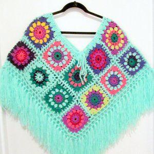 NEW Handmade Boho Granny Square Poncho OS